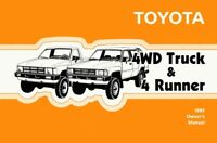 1985 Toyota 4WD Truck & 4Runner Owners Manual User Guide Reference Operator OEM
