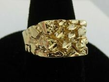 MENS 14KT GOLD EP  DESIGNER NUGGET SQUARED OFF RING STYLE 1 IN SIZE 8