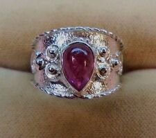 1.60ct  Rubellite Tourmaline 9x6mm Handcrafted Sterling Silver 925 Ring skaisF16