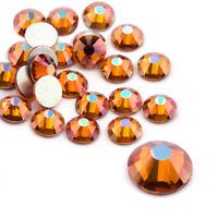 288 720 1440pcs Amber Glitter 3D Nail Art Rhinestones Flatback Crystals Gems