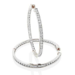 2Ct White Brilliant Cut D/VVS1 Diamond Hoop Earrings 14K Gold Finish