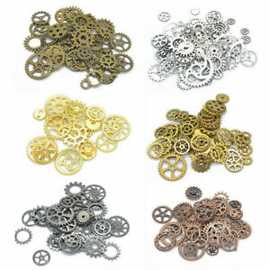100g DIY Metal Bronze Silver Gold Steampunk Cogs and Gears Clock Hand Charm Mix