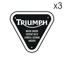 3 Stickers plastifiés Triumph PATENT NUMBER - 5cm x 5cm