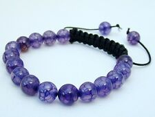 Shamballa bracelet all 8mm  NATURAL DRAGON VEINS PURPLE AGATE BEADS