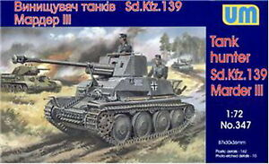 Unimodel 347 - 1/72 Marder III SD.139 WWII German Self-Propelled Gun Kit UM 347