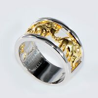 Gold Lucky Elephant Ring Wedding Band 10KT White Gold Filled Men/Women Size 6-10