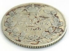 1929 Canada Ten 10 Cents Silver Dime Canadian Circulated George V Coin J967