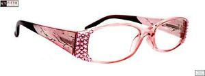 Ivy, Bling Reading for Women. Translucent Pink. Adorned w Rose Swarovski Crystal