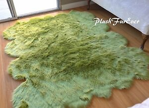"""48"""" x 58"""" Olive Green Sheepskin Area Rug Acrylics Suede Nursery Accents Rugs"""