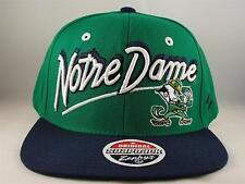 NCAA Notre Dame Fighting Irish Snapback Hat Cap Zephyr Shadow Script Green Navy