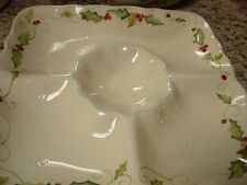 "TRACY PORTER COMPARTMENT DISH--CENTER DIP--12 1/2"" SQUARE-SCALLOPED--#R3A"