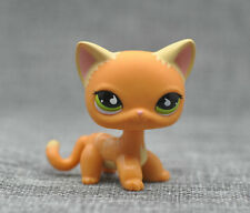 Littlest Pet Shop LPS Animals Toy #790 ORANGE YELLOW STRIPED KITTY CAT LOOSE
