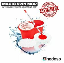 Hodeso Magic Spin Mop W/Bucket 1 Heads Rotating 360° - RED