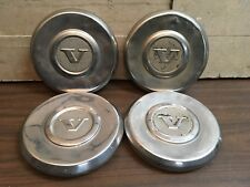 Set Of 4 Vintage Volvo Small Dust Hubcaps Mini Dog Bowl Wheels Covers Chrome