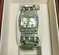 """Vintage TAXCO JPR Mexico 925 Sterling Silver Abalone Shell 7"""" Link Bracelet 54g"""