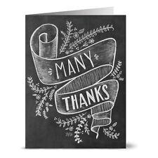 Many Thanks - 36 Chalkboard Thank You Note Cards - Blank Cards - Kraft Envelopes