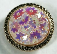 Vintage Molded Glass Floral Scarf Or Sweater Clip Made In Western Germany