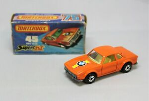 """Matchbox Lesney Superfast No45 BMW 3.0 CSL with """" RARER CLEAR GLASS """" in J BOX"""