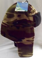 TRACPAC CAMOUFLAGE SHERPA BOMBER TRAPPER HAT WARM FLEECE ARMY CAMPING FISHING