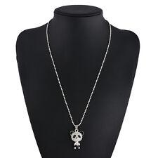New Personalized Jewelry Silver Fashion Rhinestone Panda Pendant Chain Necklace