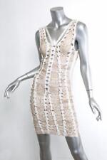 HERVE LEGER MAX AZRIA Beige+White Braided Bandage Bodycon Stretch Mini Dress XXS