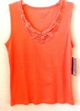 Womens Ribbed Knit Coral Shirt/Tank/Top Allyson Whitmore PL Sleeveless New w/Tag