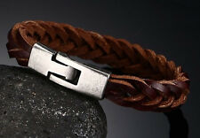 UK MENS DESIGNER COOL BRAIDED REAL LEATHER CUFF BRACELETS WRISTBAND FOR GUYS B2