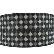 RUBAN GROS GRAIN ** 25 mm ** CARREAU LOSANGE / Blanc Gris Noir / vendu au mètre