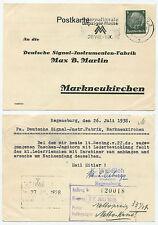 30812 - Postkarte - Regensburg 26.7.1938 nach Markneukirchen - Taschenjagdhorn
