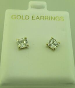 10k yellow gold CZ 5mm Square  stud earrings