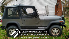 JEEP YJ DIAMOND PLATE black SIDE ROCKER PANEL SET OF 2. 6'' WIDE