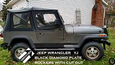 JEEP YJ DIAMOND PLATE black SIDE ROCKER PANEL SET OF 2. 6'' WIDE