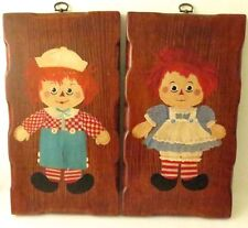 Raggedy Ann & Andy Dolls Hand Painted On Board Plaque Painting Handmade