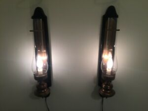 Vintage Pair Of Brass Electric Sconce Lamp Wall With Switch Hurricane Globe