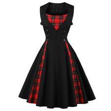 ZAFUL Vintage Women Checked Swing Party Dress A-Line Sleeveless Dress Plus Size