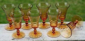 Vintage 1920's Set/8 Cambridge AMBER OPTIC #3075 Cordial Stemware Glasses