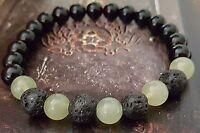 3 Stone Beaded Stretch Bracelet Green Serpentine Black Onyx Lava Stone Men Gift