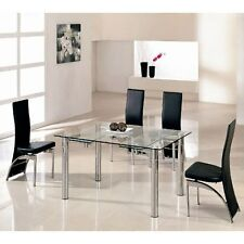 Alicia Extending Dining Table In Clear Glass With Chrome