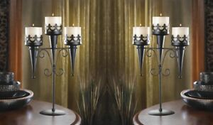 2 Triple Candle Candelabra Stands Medieval Gothic Style Centerpieces