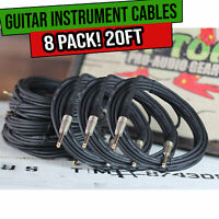 Guitar Cables Instrument Cord 8 Wire PACK Electric AMP Bass Music 1/4 Gold Jack