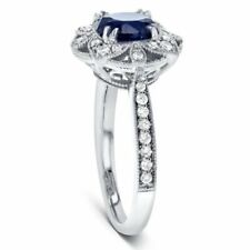 Sapphire Floral Engagement Ring AAAAA+ CZ Jewelry Size 9