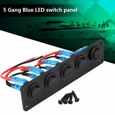 5 GANG Rocker Switch Panel Circuit Breaker Blue LED RV Car Marine Boat 12-24V
