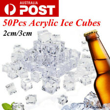 50X Clear Square Cubes Fake Artificial Acrylic Ice Cubes Crystal Party Home AU
