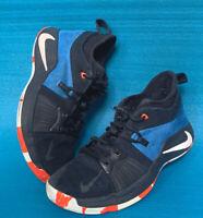 Nike PG Boys Black/Blue Sneakers 943820-400 Size 6Y