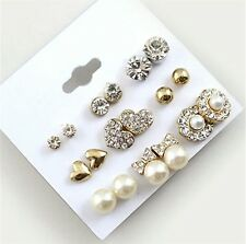 Shiny 9 pairs Assorted Crystal Diamante Ear Studs Earring Set Great Gift