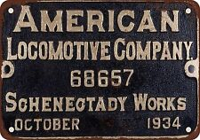 "7"" x 10"" Metal Sign - 1934 Alco Builder Plate Schenectady Works - Vintage Look R"