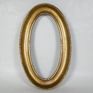 S243 ANTICA PICCOLA CORNICE OVALE IN LEGNO DORATO DORATA ORO interno 17.5 x 9 cm