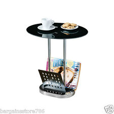 Oval Coffee Table Magazine Holder Tidy Side Flower Chrome Base Black Glass Cake