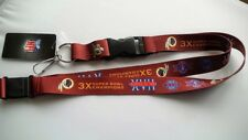 Washington Redskins Football NFL Dynasty Lanyard Key Ring Keychain & Safety Clip