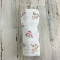 ADEN + ANAIS Pink Green Floral White Cotton Muslin Baby Blanket Swaddle Girls